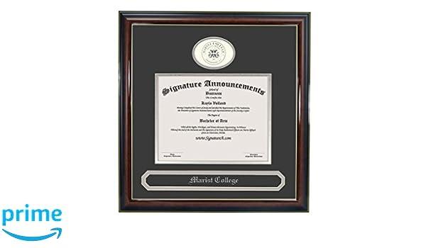 Signature Announcements Marist-College Sculpted Foil Seal Graduation Diploma Frame 16 x 16 Gold Accent Gloss Mahogany