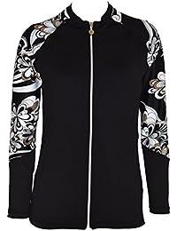 Women UV Wetsuits Long Raglan Sleeve Rash Guard Top Zipper Jacket Pocket Workout Outdoor/Yoga/JRSRGT