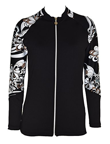 Private Island Hawaii Women UV Wetsuits Long Raglan Sleeve Rash Guard Top Zipper Jacket Pocket Outdoor/Yoga (Large, BwP) ()