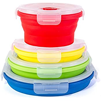 Thin Bins Collapsible Containers - Set of 4 Round Silicone Food Storage Containers - BPA Free, Microwave, Dishwasher and Freezer Safe - No more cluttered container cabinet!