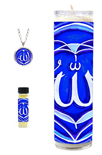 Allah Royal Blue 7 Day Scented Candle with Pendant and 1/8th Oz Oil Gift Set (Silver)