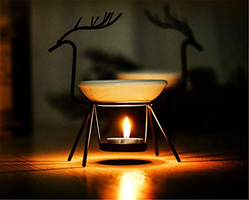 (YMOON Reindeer Tea Light Candle Holder & Wax Warmer, Aromatherapy Essential Oil Burner, 6 Inch)