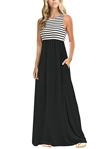TECREW Women's Striped Round Neck Sleeveless Casual Long Maxi Dress with Side Pockets (Striped Scoop Neck Pocket Dress)