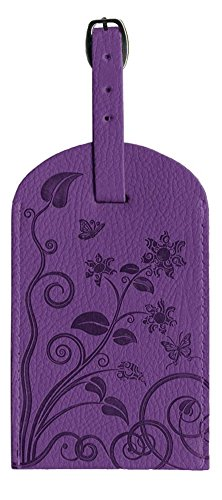 Pierre Belvedere Executive Line Embossed Luggage Tag, Organic Flowers, Purple
