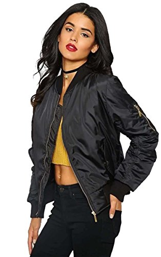 Luouse Women Vintage Bomber Jacket Classic Zip up Biker Jacket Stylish Padded (50s Biker Girl)