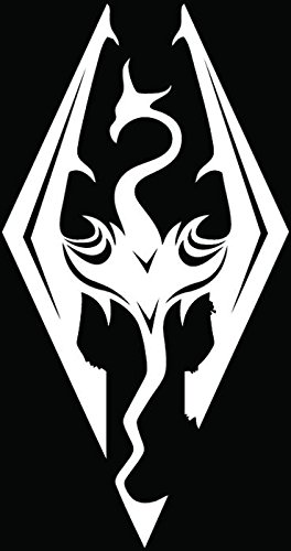 Skyrim Dragons Game Car Truck Window Bumper Vinyl Graphic Decal Sticker- (6 inch) / (15 cm) Tall GLOSS WHITE Color