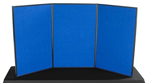 Displays2go 3-Panel Tabletop Display Board, 72 x 36 - Blue and Red Velcro-Receptive Fabric, Exhibition Display System (3P7236BLRD) by Displays2go