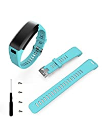 Quick Release Silicone Watch Band,Hotkey Sports Silicone Band Strap Bracelet Replacement Watch Strap For Garmin Vivosmart HR CM-18 (light Blue)