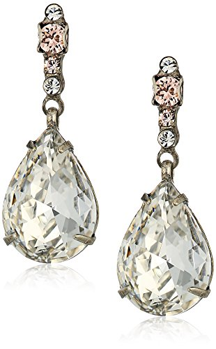Sorrelli Womens Snow Bunny Elegant Teardrop Drop Earrings, Clear/Pink, 1
