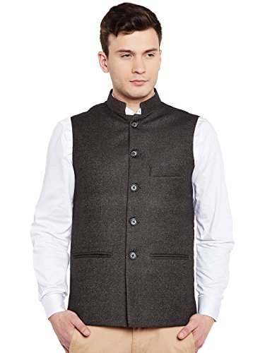 Blend Suit Jacket - WINTAGE Men's Wool Blend Grandad Nehru Jacket Vest Waistcoat: Black, M