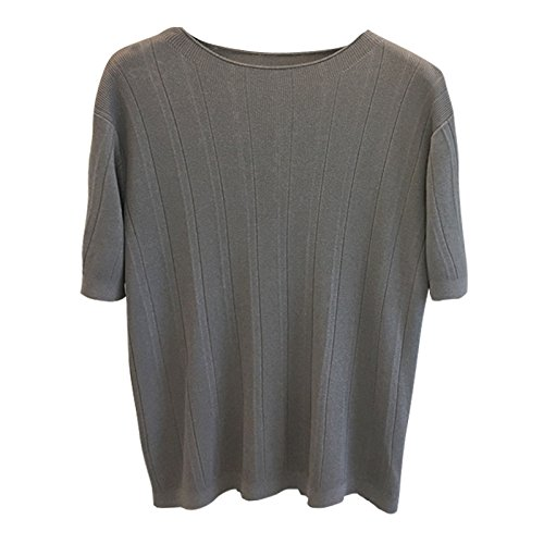 Xmy printemps, l'été et de tempérament élégant à col large @ (Texture verticale en soie de glace pull tricot manches courtes T-shirt T-shirt code sont