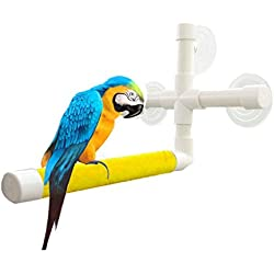 UPGRADE Protable Bird Shower Stand with Suction Cup, Non-slip Bath Perch Toys for Parrot Macaw African Greys Budgies Cockatoo Parakeet Cockatiel Conure Lovebirds (Yellow)