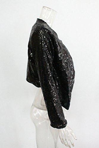 Manteau Courte Cardigan Femmes lgantes Blazer Manches Longues Sentao Veste Noir Paillettes 6O0wqOBz