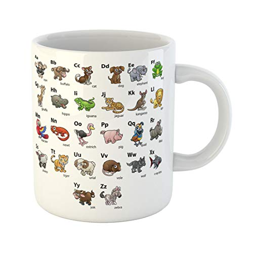 Semtomn Funny Coffee Mug Colorful Alfabet Animal Cartoon Character Alphabet Abc Educational Wallchart 11 Oz Ceramic Coffee Mugs Tea Cup Best Gift Or Souvenir -