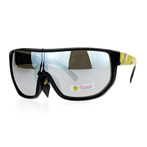 Biohazard Sunglasses Mens Oversized Shield Goggle Frame Mirror Lens Beige Camo