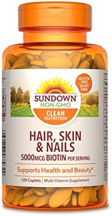 Sundown Hair, Skin & Nails 5000 mcg of Biotin, 120 Tablets