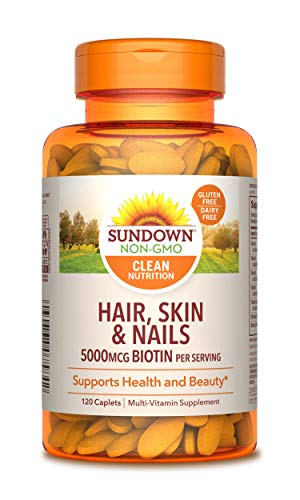 Sundown Naturals Hair, Skin & Nails 5000 mcg of Biotin, 120 Tablets