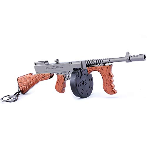 LONGHE Games Metal 1/6 Metal Thomson Tommy Drum Gun Cannon Scar AWP Sniper Rifle Assault Model Action Figure Arts Toys Collection Keychain Gift (Thomson Tommy Drum Gun)
