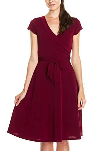Surplice Draped (KAYLYN KAYDEN KLKD J1I01 Women's Basic Solid Draped Self Tie A-Line Faux Wrap Dress Burgundy X-Large)