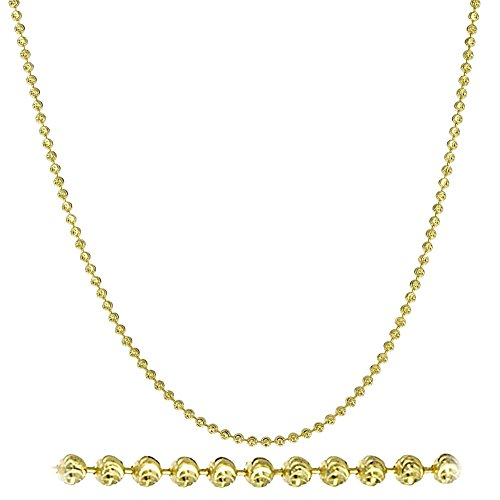 NYC Sterling Diamond Cut Italian 2mm Moon Cut Bead Chain in Solid Sterling Silver (20, yellow-gold-plated-silver)