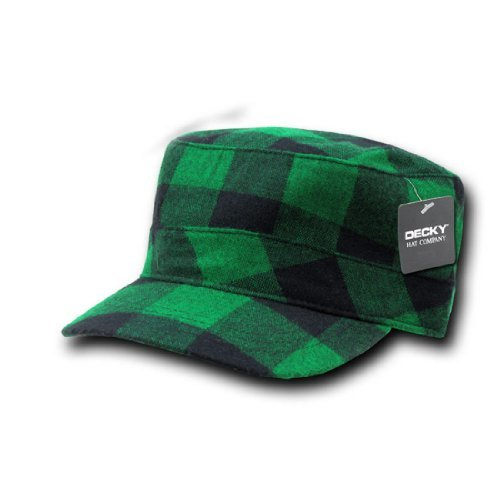 Plaid Top Hat (DECKY Inc Plaid Flat Top Cadet Style Caps 905 Green Plaid)