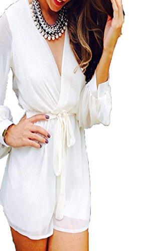 Eshion Women Stylish V-Neck Long Sleeve Elastic Waist Loose Chiffon Short Jumpsuit