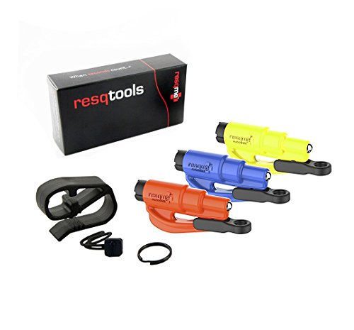 resqme, Inc 05.300.02.05.09 Blue/Orange/Safety Yellow Keychain Car Escape Tool, 4 devices