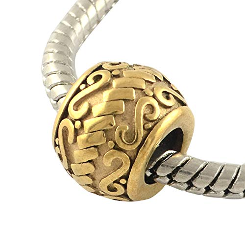 - NBEADS 10 pcs Antique Golden Large Hole Beads Vintage Rondelle 316 Stainless Steel European Beads 11x9mm, Hole: 5mm