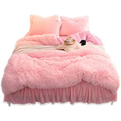 LIFEREVO Luxury Plush Shaggy Duvet Cover Set (1 Faux Fur Duvet Cover + 2 Pompoms Fringe Pillow Shams) Solid, Zipper Closure (King Pink)