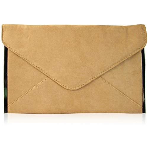 Xardi London - Pochette media da donna, busta piatta, in pelle scamosciata sintetica, da sera, UK Tan