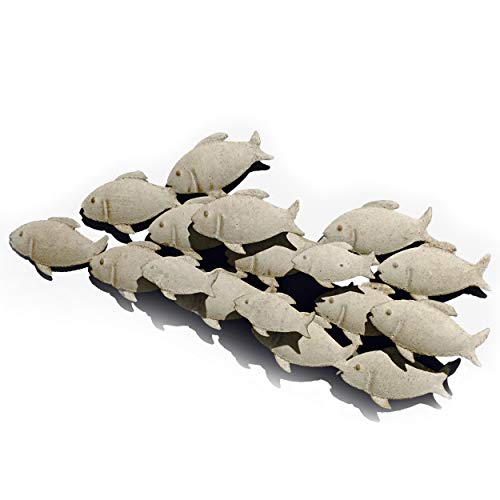 Whole House Worlds Cape Cod School of Fish, Hand Crafted Rustic Metal Wall Decor, Antiqued Finish Sand Color Paint, 24 1/2 Inches Long (62 cm)