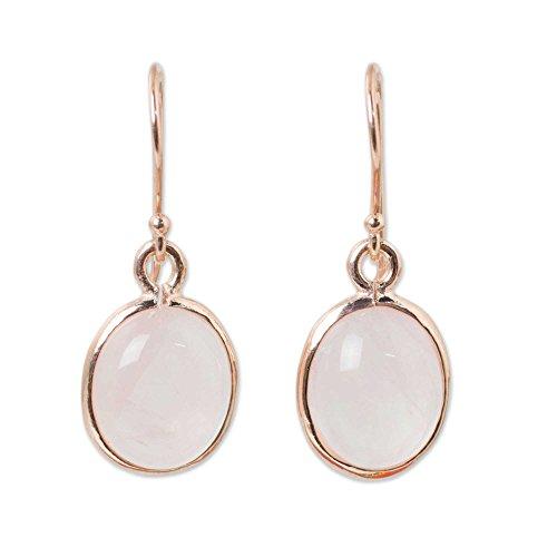 NOVICA Rose Gold Plated Sterling Silver and Rose Quartz Dangle Earrings, 'Morning Rose' ()