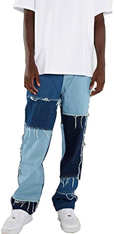 ZZZLBUF dżinsy męskie z prostymi nogawkami, modne, postrzępione jeansy z kolorowym blokiem kolorÓw o luźnym kroju: Odzież