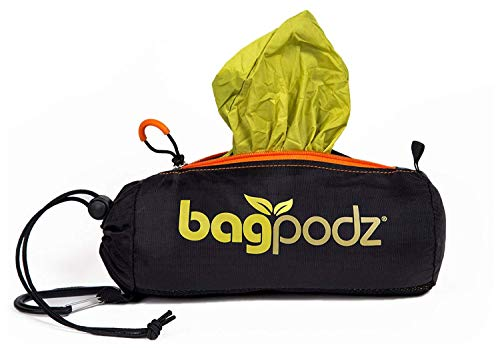 BagPodz Reusable Shopping Bags - Includes 10 Foldable Bags Inside a Compact Pod with Carry Clip - Super Strong Nylon Reusable Shopping Bags Hold up to 50lbs - Sturdy, Washable and Easy to Use