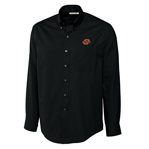 Cutter & Buck NCAA Oklahoma State Cowboys Men's Long Sleeve Epic Easy Care Fine Twill Shirt, Medium, Black