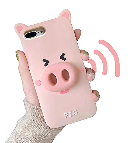 UnnFiko Cute Cartoon Case Compatible with iPhone 7/ iPhone 8, Loudspeaker Sound Amplifying Design, 3D Soft Silicone Protective Case Cover (Pig, iPhone 7/8)