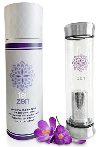 Tea Infuser Bottle- Double Walled Glass Tumbler with Loose Leaf Stainless Steel Strainer Basket by Teizen - Portable - 14 Ounce