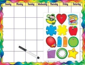 Trend Enterprises Rainbow Gel Monthly Calendar (Cling Acc ) Wipe-Off Kit (3 Piece), 17