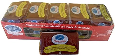 DULCES del VALLE Marqueta Combinada Manjar Blanco con Jalea de Guayaba 650 gr.| Guava Jelly w/Caramel Spread 1.43 lb. - Box of 10.