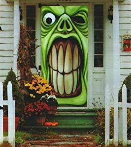 Halloween Decorations Haunted House Green Goblin Door Cover Mural (Large Image)