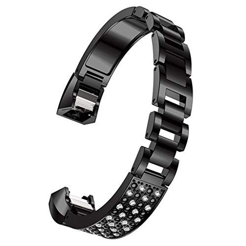 Leather Calfskin Metallic (iSovze Women's Fashion Suitable Replacement Metallic Drilled Wrist Strap Braceletor for Fitbit Alta)
