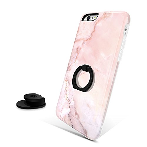 iPhone 6/6s case kickstand, Akna All-Standing Series High Impact Build-in Ring Holder Kickstand Flexible Silicon Case with Free Car Mount Holder for iPhone 6/6s [Baby Pink Marble](250-U.S)