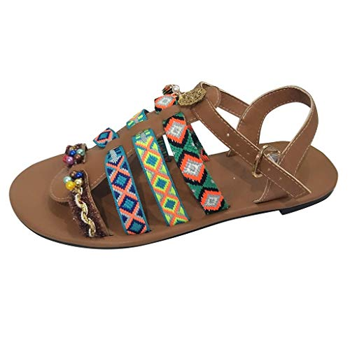 (Aunimeifly Women's Bohemian Wind Sandals Gladiator Leather Flats Shoes Pom-Pom Sandals Brown)