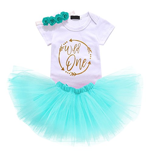 Baby Girl First Birthday Outfits Onsie Tutu Skirt Headband Clothes 3PCS Set Cake Smash Photography Prop Wild One Light Blue -