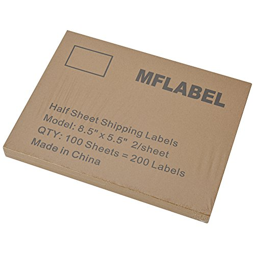 Mflabel 200 half sheet shipping labels 5 1 2quot x 8 1 2 for Half page labels