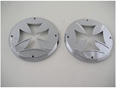 """2 Round Chrome Bezels Covers 4/"""" Grommet Mounted LED Stop Turn Tail Lights"""