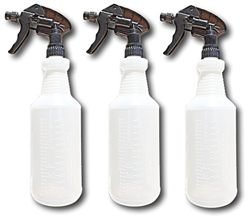 Industrial Large Spray Bottles for Cleaning Solutions - Measurement Graduations - Chemical Resistant - Extra Large 32 oz - Leak Resistant - Car Detailing - Janitorial by S & E Packaging