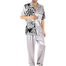Partiss Men's Silk Satin Pajamas Set Sleepwear Loungewear Summer Pajamas