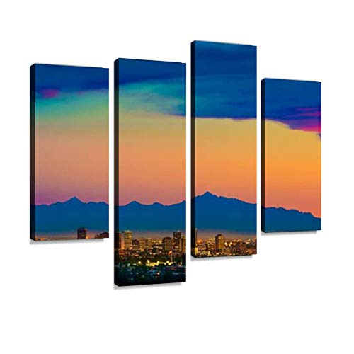 TOKERY Canvas Painting Phoenix Arizona Skyline Panorama Cityscape Sunset, Aerial from Modern Home Hotel Decor Gift Perfect Wall Art Pictures Print Ready to Hang Wall Posters 4 Panels