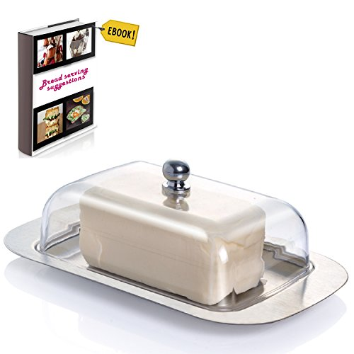 "Covered Butter Dish For Kitchen - Stainless Steel Metal Saucer Clear plastic Lid + FREE Bread Serving Suggestions eBook 7.3""x4.7"" by All-Green Products"